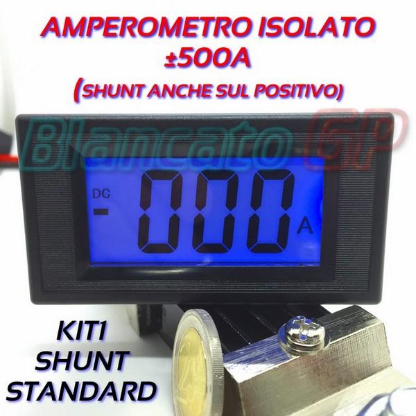 AMPEROMETRO DIGITALE 200A AC corrente alternata ISOLATO LCD LED BLU SHUNT 75mV