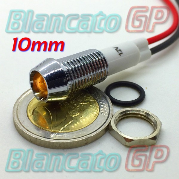 "Spia LED Giallo 12V corpo in metallo ""conico"" 10mm"