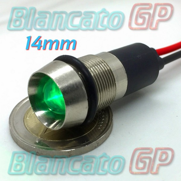 "Spia LED Verde 12V corpo in metallo ""conico"" 14mm"