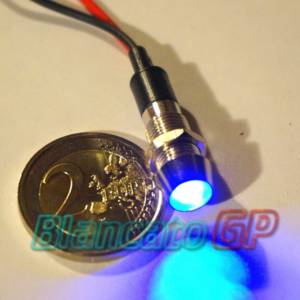 "Spia LED Blu 12V corpo in metallo ""conico""  8mm"