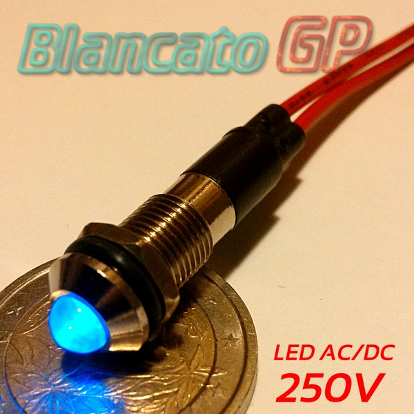 "Spia LED Blu 220V corpo in metallo ""tondo""  8mm"