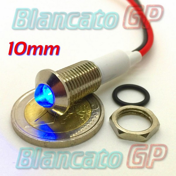 "Spia LED Blu 12V corpo in metallo ""tondo"" 10mm"