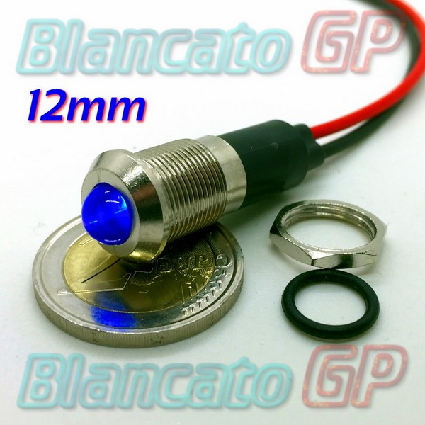 "Spia LED Blu 12V corpo in metallo ""tondo"" 12mm"