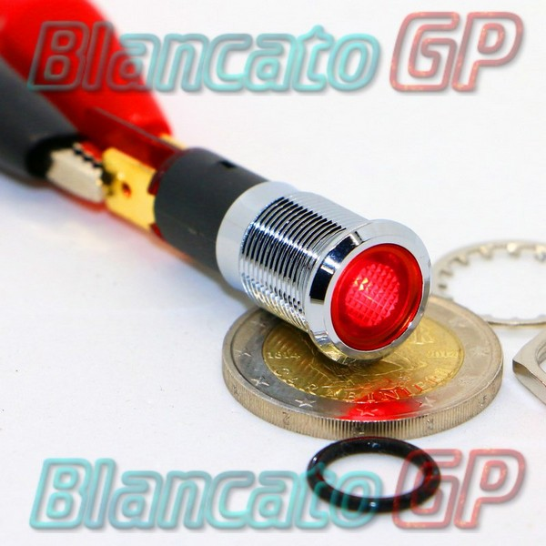 "Spia LED Rosso 12V corpo in metallo ""Flat"" 12mm"