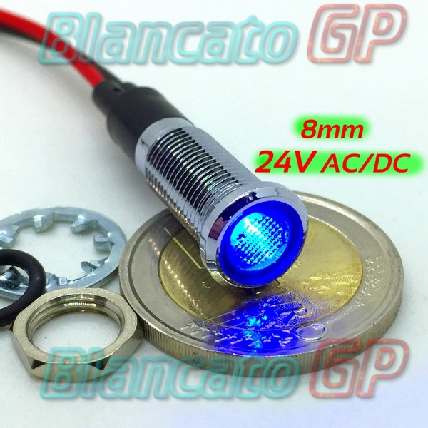 "Spia LED Blu 24V corpo in metallo ""Flat"" 8mm"