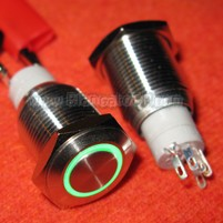 Interruttore Bistabile 16mm Led Verde