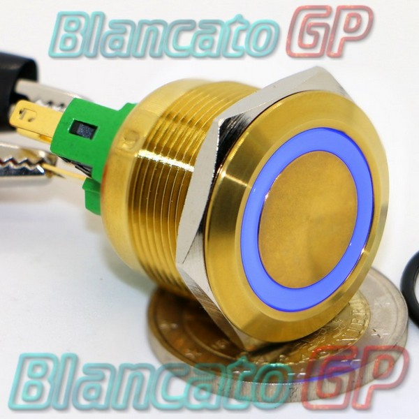 Pulsante 22mm Champagne Led Blu
