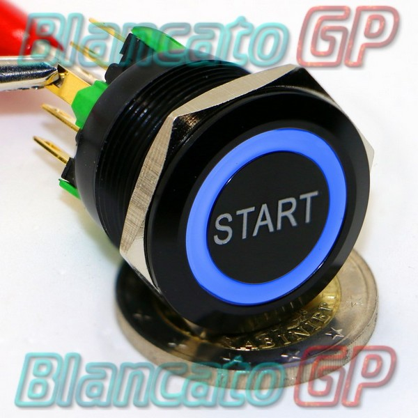 Pulsante Start 22mm Monostabile Led Blu