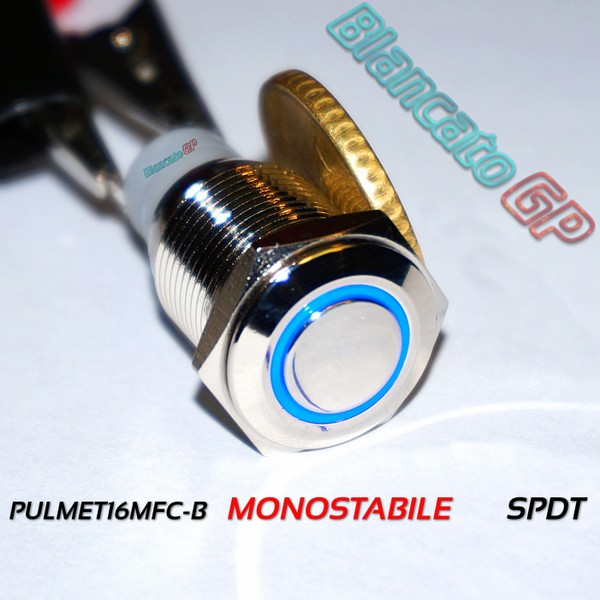 Pulsante TP-Monostabile 16mm Led Blu