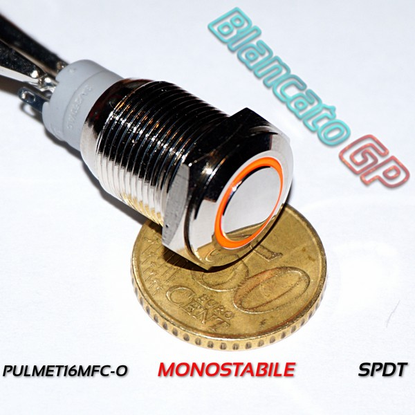 Pulsante TP-Monostabile 16mm Led Arancio