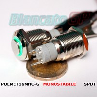 Pulsante TR-Monostabile 16mm Led Verde