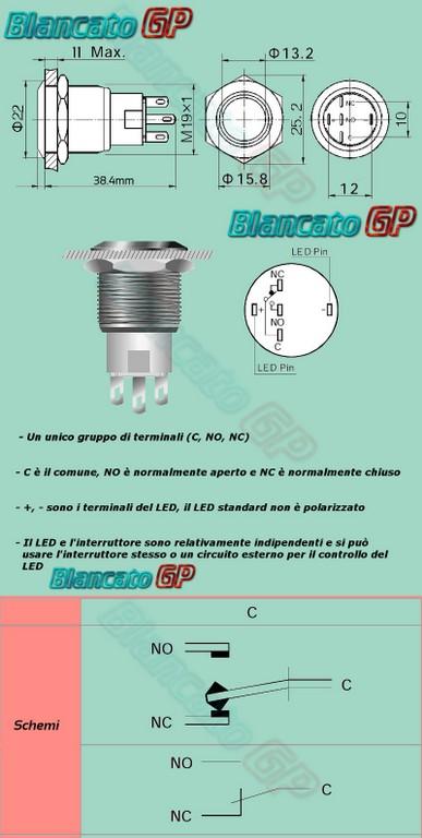Schema Collegamento Lampada Emergenza Linergy : Interruttore a pulsante bistabile mm led rosso v