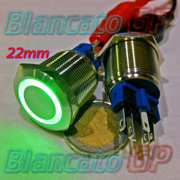 Pulsante monostabile 22 mm Led Verde