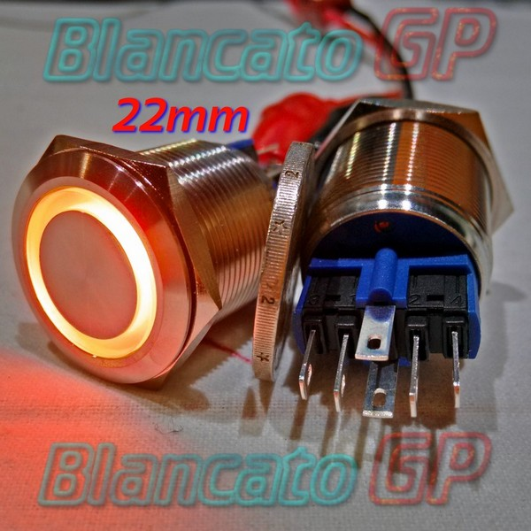 Interruttore Bistabile 22 mm Led Arancio