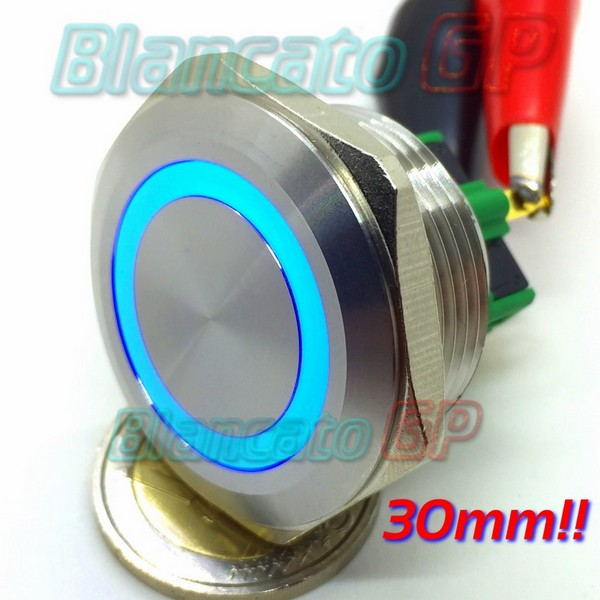 Pulsante monostabile 30mm Led Blu