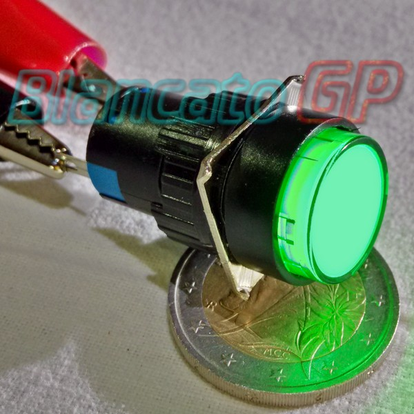 Interruttore in plastica 16mm Bistabile Led Verde