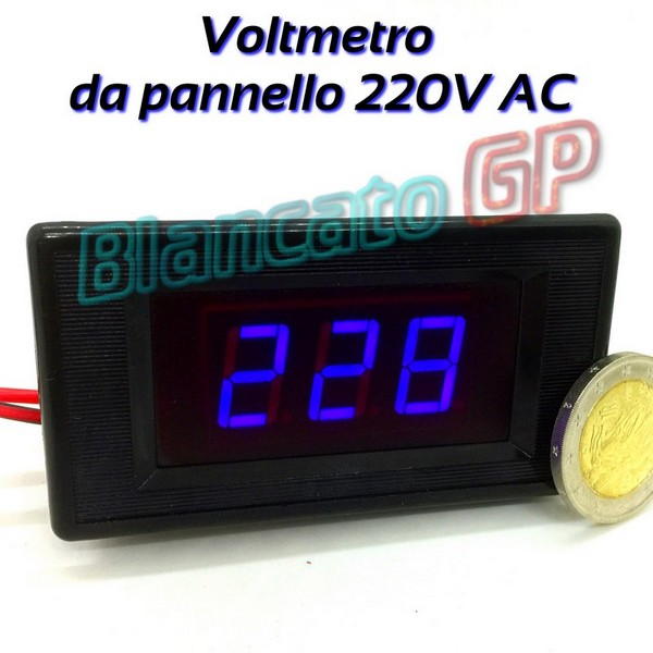 Voltmetro Digitale 70 - 250V AC Led Blu