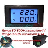 2IN1 AMPEROMETRO E VOLTMETRO DIGITALE AC 80-300V /& 0-50A LED TA 220V pannello